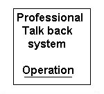 Professional Talk Back. Way of operation.